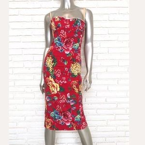 Dolce & Gabbana Red Floral Print Corset Dress 32 M